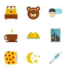 Sleeping icon set flat style vector