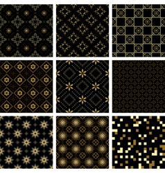 Set of black geometric seamless textures vector