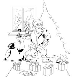 Santa Claus carrying Christmas presents vector image