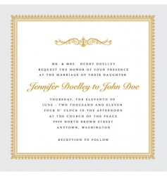 vector square gold wedding frame vector image