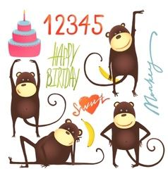 Monkey fun cartoon in poses with birthday vector