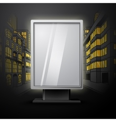 Blank white vertical billboard on night city scape vector