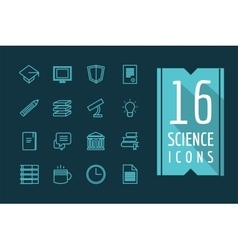 Education icons set science students or vector