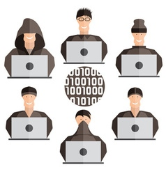 Flat design set of different hackers vector