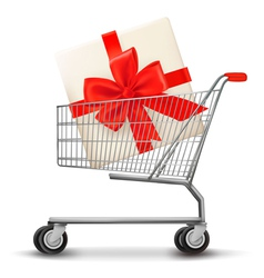 Shopping cart and gift box vector