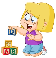 Girl with alphabet blocks vector