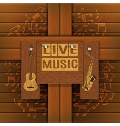 Musical background with wooden boards vector