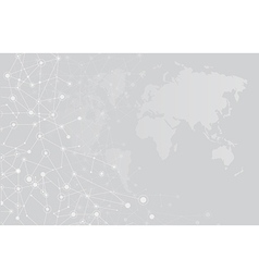 Abstract background world map and connection vector image