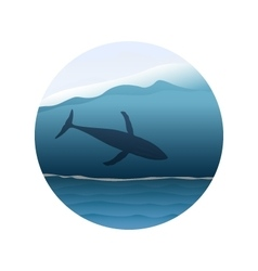 Big whale in huge ocean wave vector image