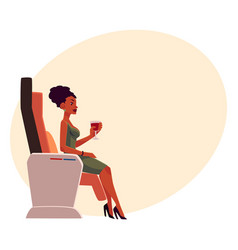 Black african lady woman drinking wine in vector