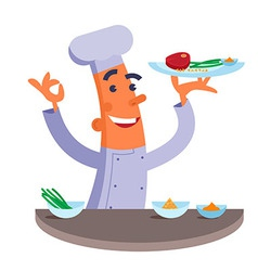 Cartoon chef holding plate with meat steak vector image vector image