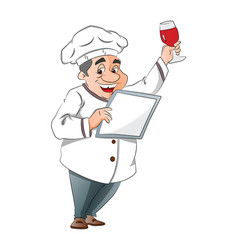 Chef holding a menu and glass of wine vector