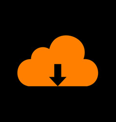 Cloud technology sign orange icon on black vector