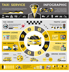 Colored taxi service infographic concept vector