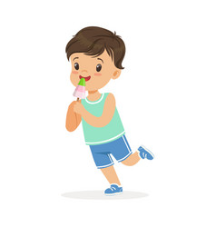 cute happy little boy character eating ice cream vector image