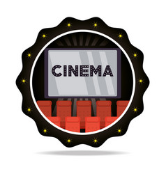 Emblem cinema short film with chairs vector