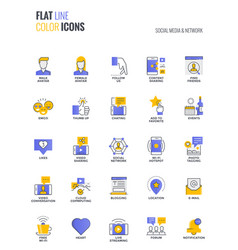 Flat line multiclor icons design-social media vector