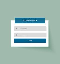 Flat sticker style member login user interface vector