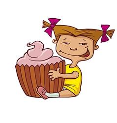 girl hugging cupcake vector image