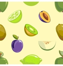 Green and blue fruits seamless pattern over white vector image vector image
