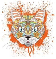 head of cat on grunge splash vector image
