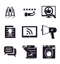 information and media web icons set vector image vector image