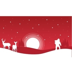 On red backgrounds Santa and reindeer landscape vector image