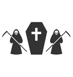 scytheman coffin guard flat icon vector image vector image