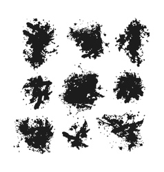Set of black blots and ink splashes vector