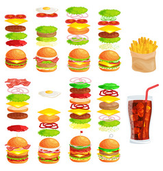 Set of tasty burgers grilled beef and fresh vector