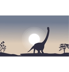 Silhouette of argentinosaurus with moon vector