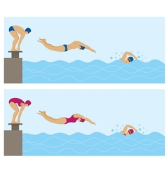 Sports athletes swimming vector