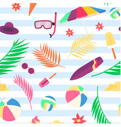 summer pattern with beach objects and accessories vector image vector image