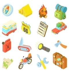 Travel icons set isometric style vector