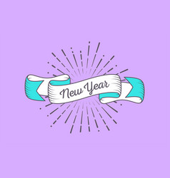 trendy retro ribbon with text new year and light vector image vector image