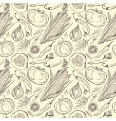 Vintage Healthy Food Sketch Pattern vector image