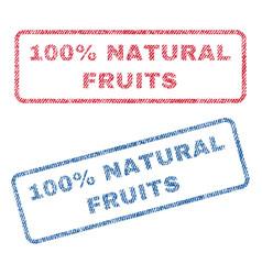 100 percent natural fruits textile stamps vector