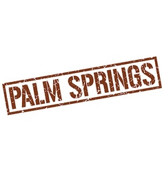 Palm springs brown square stamp vector