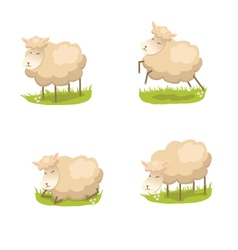 Set of cute lambs vector