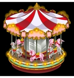 Merry-go-round with zebra and unicorn vector