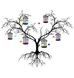 Tree silhouette with color birds vector