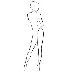Abstract slim female body vector
