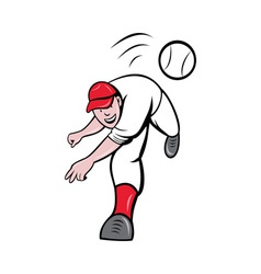 Baseball player pitcher throwing ball vector
