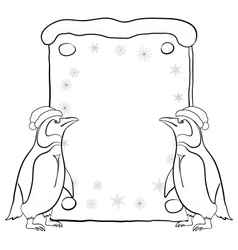 Penguins with christmas poster outline vector