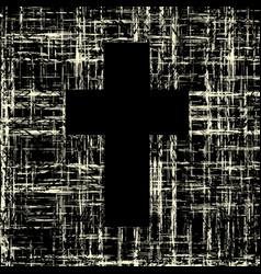 black cross on grunge background textures vector image