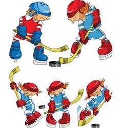 Hockey players cartoon vector image