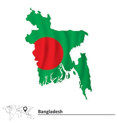 Map of bangladesh with flag vector