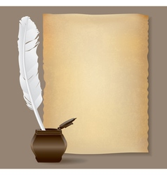 Feather pen background vector
