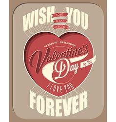Vintage style valentines deisgn vector image