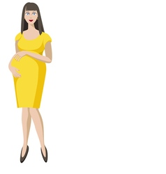 Pregnant woman in yellow vector